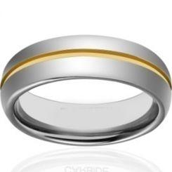 COI Tungsten Carbide Gold Tone Silver Center Groove Ring-TG4343