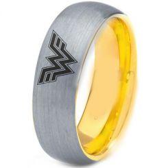 *COI Tungsten Carbide Gold Tone Silver Wonder Woman Ring-TG4428