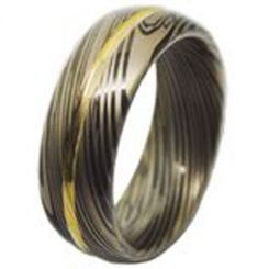 COI Tungsten Carbide Black Gold Tone Damascus Ring - TG4460