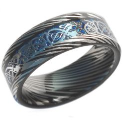 COI Tungsten Carbide Black Blue Damascus Beveled Edges Ring-4472
