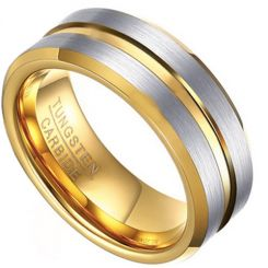 COI Tungsten Carbide Gold Tone Silver Center Groove Ring-TG4475