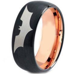 **COI Tungsten Carbide Black Rose Batman Dome Court Ring-TG4477