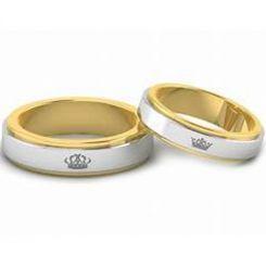 *COI Tungsten Carbide Gold Tone Silver King Queen Crown Ring-TG4479