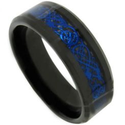COI Titanium Black Blue Dragon Beveled Edges Ring-3707