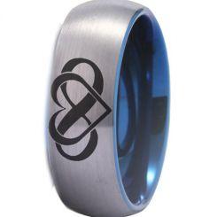 *COI Tungsten Carbide Blue Silver Infinity Heart Ring-TG4489