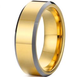 *COI Tungsten Carbide Pipe Cut Flat Beveled Edges Ring - TG2022A