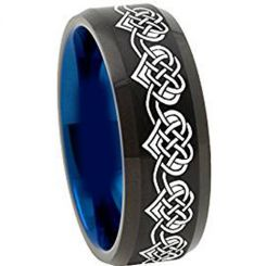 COI Tungsten Carbide Black Blue Heart Beveled Edges Ring-TG4492