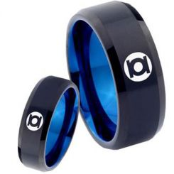 COI Tungsten Carbide Black Blue Green Lantern Ring-TG4521