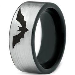 COI Titanium Black Silver Batman Pipe Cut Flat Ring-4525