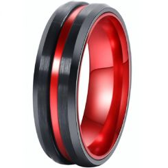 *COI Tungsten Carbide Black Red Center Groove Ring-TG4527