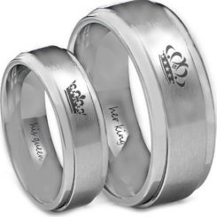 COI Tungsten Carbide King Queen Crown Step Edges Ring-TG4582