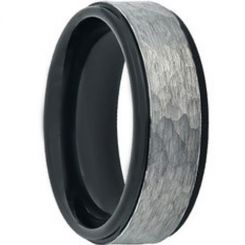 COI Titanium Black Silver Hammered Step Edges Ring-JT3822