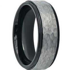 COI Titanium Black Silver Hammered Step Edges Ring-JT3822