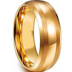 COI Gold Tone Tungsten Carbide Dome Court Ring-TG4608