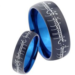 COI Tungsten Carbide Black Blue Lord of The Ring Ring-TG4622