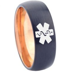 COI Tungsten Carbide Black Rose Medic Alert Ring-TG4630
