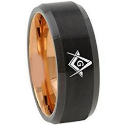 COI Tungsten Carbide Black Rose Masonic Ring-TG4668