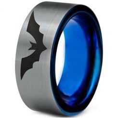 COI Titanium Blue Silver Bat Pipe Cut Flat Ring-4698