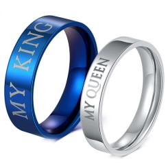 COI Tungsten Carbide Blue/Silver King Queen Ring-TG4717