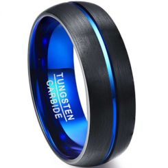 COI Tungsten Carbide Black Blue Center Groove Ring-TG4745