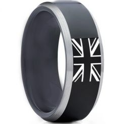 COI Tungsten Carbide Beveled Edges Ring With Britain Flag-TG5012