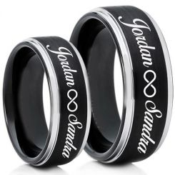 COI Tungsten Carbide Ring With Custom Engraving-TG5013