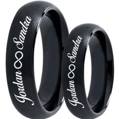 COI Black Tungsten Carbide Ring With Custom Engraving-TG5019