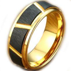 COI Tungsten Carbide Gold Tone Silver Diagonal Grooves Ring-TG5023