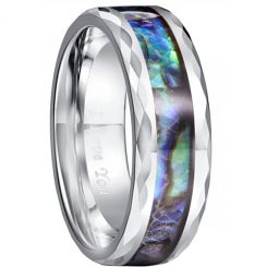 COI Tungsten Carbide Abalone Shell Faceted Ring-TG5030