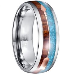 COI Tungsten Carbide Wood & Crushed Opal Ring With Arrows-TG5031