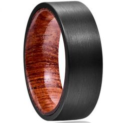 COI Black Tungsten Carbide Wood Pipe Cut Flat Ring-TG5041