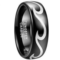 COI Black Tungsten Carbide Celtic Dome Court Ring-TG5042