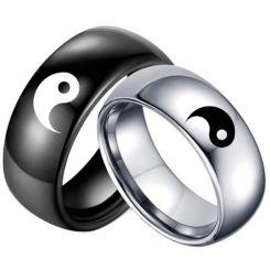 COI Tungsten Carbide Black/Silver Yin Yang Dome Court Ring-5052