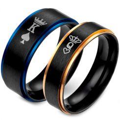 *COI Tungsten Carbide Black Blue/Rose King Crown Ring-TG5053