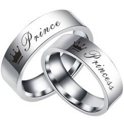 COI Tungsten Carbide Prince Princess Crown Flat Ring-TG5055