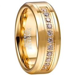 COI Gold Tone Tungsten Carbide Ring With Cubic Zirconia-TG5057