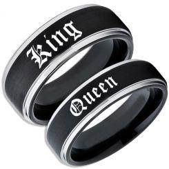 COI Tungsten Carbide Black Silver King Queen Ring-TG5060