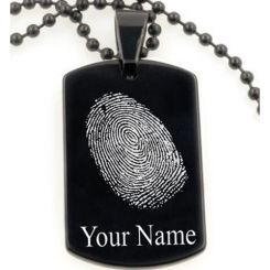 COI Black Tungsten Carbide Pendant With Custom Fingerprint-TG5070