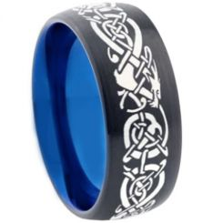 COI Tungsten Carbide Black Blue Dragon Dome Ring-TG355