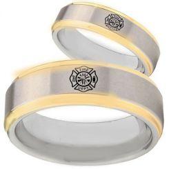 *COI Titanium Gold Tone Silver Firefighter Step Edges Ring-JT5067