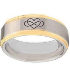 *COI Titanium Gold Tone Silver Infinity Heart Step Edges Ring-5033