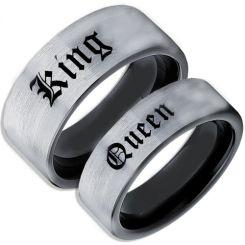 COI Tungsten Carbide Black Silver King Queen Ring-TG5104