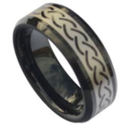 COI Black Tungsten Carbide Celtic Beveled Edges Ring-TG5187