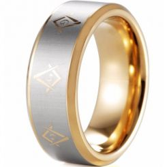 COI Gold Tone Tungsten Carbide Masonic Beveled Edges Ring-TG5112