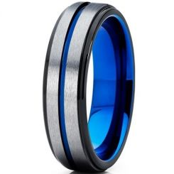 COI Tungsten Carbide Black Blue Center Groove Beveled Edges Ring-TG5189