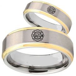 COI Tungsten Carbide Gold Tone Silver Firefighter Ring-TG5123