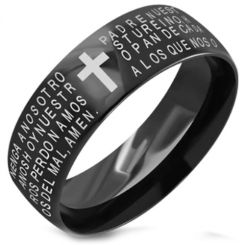COI Black Tungsten Carbide Cross Scripture Ring-TG5136