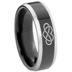 COI Tungsten Carbide Black Silver Infinity Heart Ring-TG5141