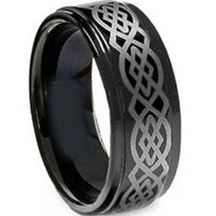 COI Black Tungsten Carbide Celtic Step Edges Ring-TG5143