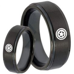COI Black Tungsten Carbide Captain America Step Edges Ring-5144
